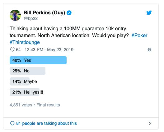 Bill Perkins想举办一场1亿美元保底奖池的锦标赛?!