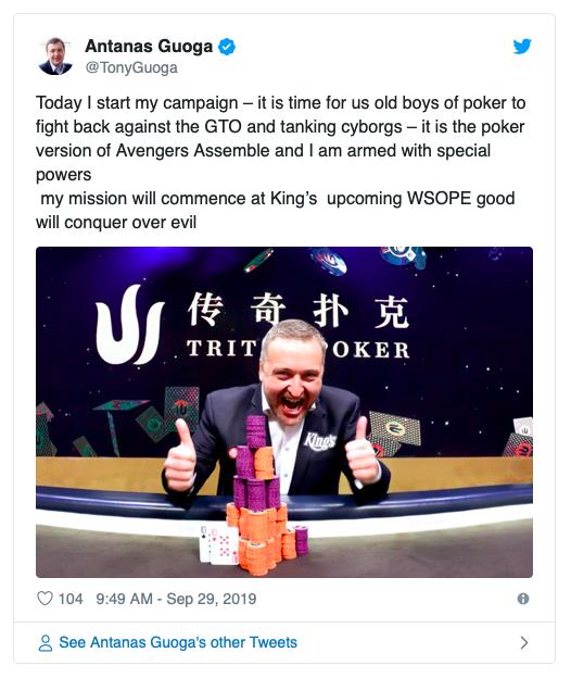Tony G发誓要在WSOP-E中对GTO玩家进行反击