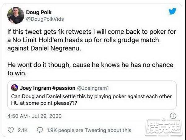 退役职业牌手Doug Polk对丹牛发起一对一挑战!