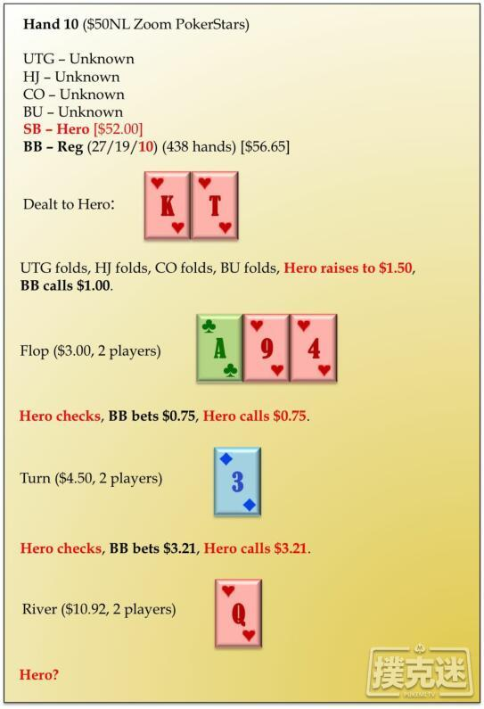 德州扑克桌常规局典型牌例100手-10
