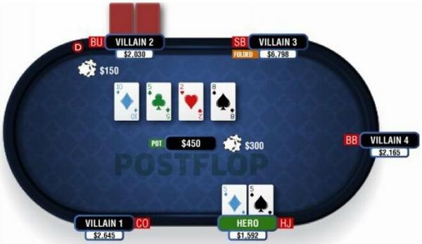 德州扑克在干燥公共牌面游戏暗三条