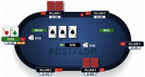 德州扑克在湿润公共牌面游戏暗三条