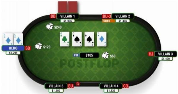 德州扑克明三条翻牌面