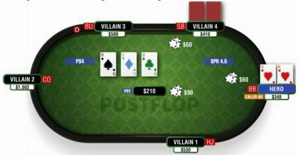 德州扑克三同张翻牌面