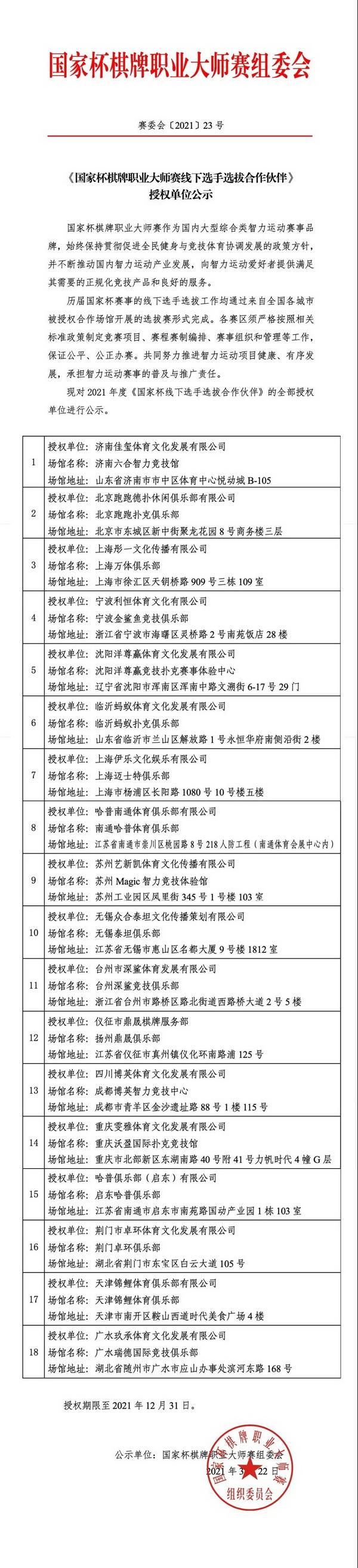 《国家杯棋牌职业大师赛线下选手选拔合作伙伴》授权单位公示