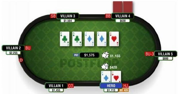 德州扑克使你构成底大两对的翻牌面-1